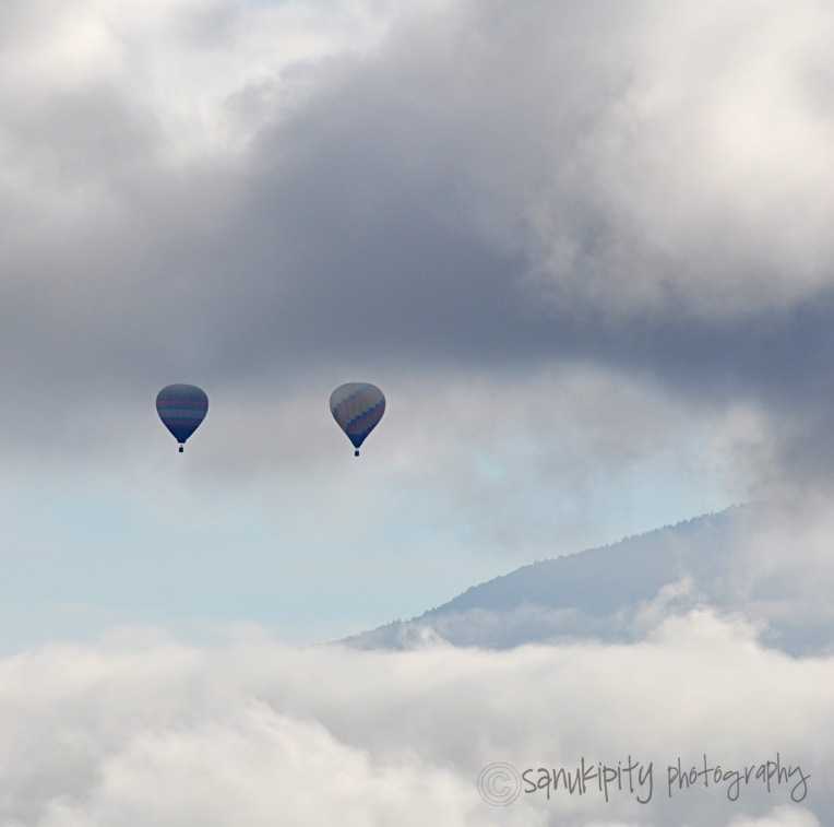 balloons in clouds