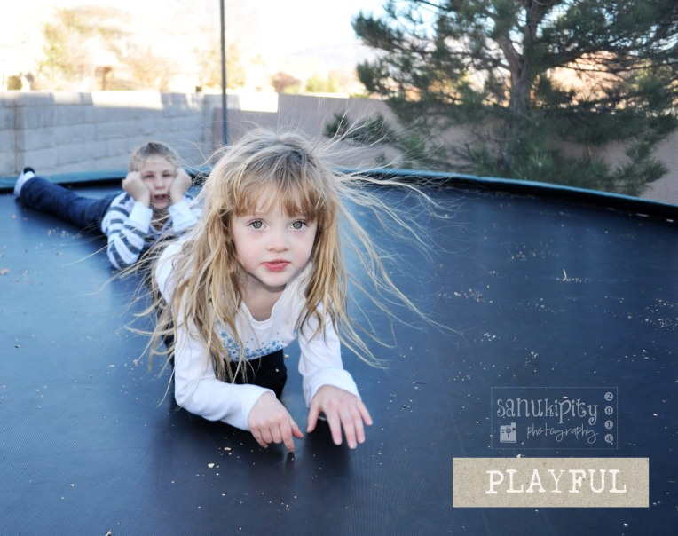 outside fun, trampoline, laughing