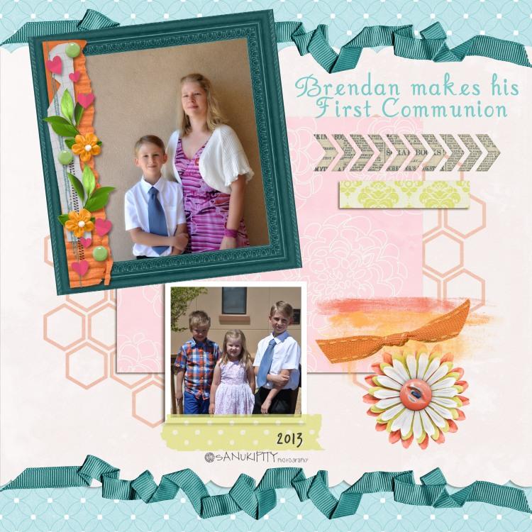 1st communion, kids, family, Mr B, me, digital scrapbooking