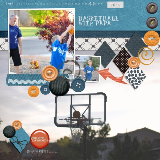 basketball, outdoor fun, Mr B, papa, family, digital scrapbooking