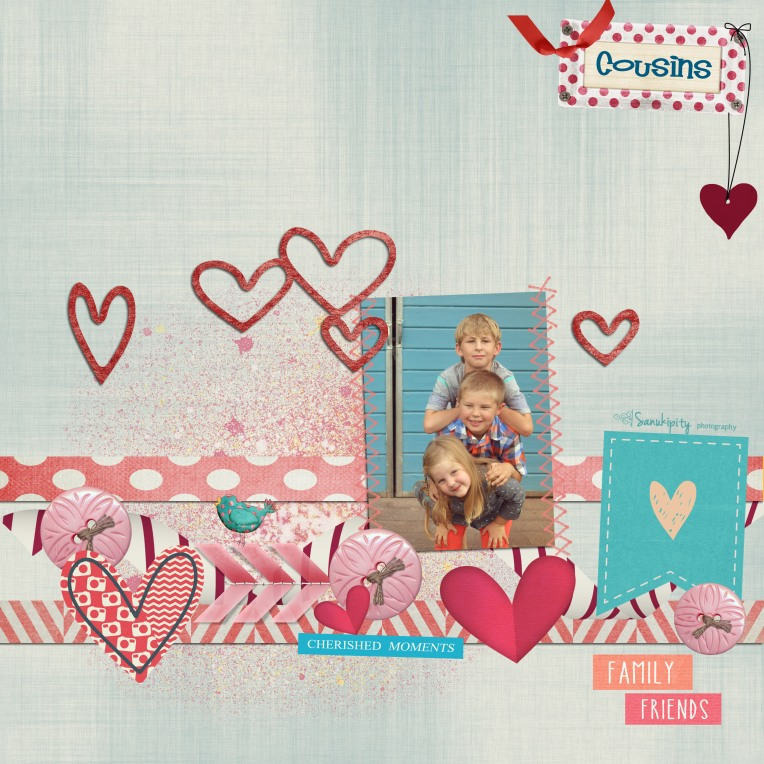 cousins, family, love, digital scrapbooking