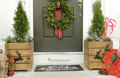 christmas-front-porch-with-boxwood-wreaths-and-wooden-planters